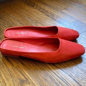 Mansur Gavriel red suede mules block heel size 35
